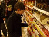 Pupil looking at the sweets