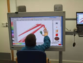 Student using an work board