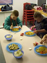 Pupils eating what they've made!