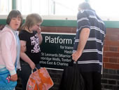 Pupils at Bexhill Station