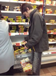 Student out shopping with shopping basket